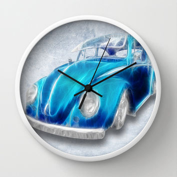 VW Beetle Blue Wall Clock by Alice Gosling