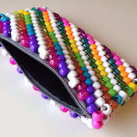 Rainbow Striped Wallet, Beaded Coin Purse, Kandi Purse, Beaded Change Purse