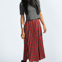 Zoe Tartan Pleated Midi Skirt