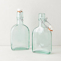 Mini Green Glass Storage Flasks