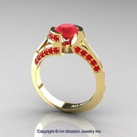 Modern French 14K Yellow Gold 1.0 Ct Ruby Engagement Ring Wedding Ring R376-14KYGR