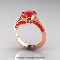 Modern French 14K Rose Gold 1.0 Ct Ruby Engagement Ring Wedding Ring R376-14KRGR