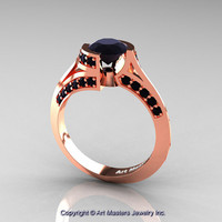 Modern French 14K Rose Gold 1.0 Ct Black Diamond Engagement Ring Wedding Ring R376-14KRGBD