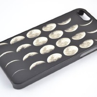Moon Lunar Phases - Iphone 4/ 4s Case Hard Cover (Black & White) Plastic Comb