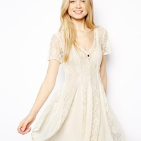 ASOS Skater Dress With Lace Detail Panels
