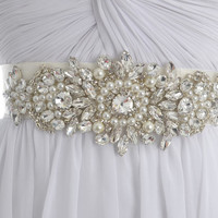 Crystal and Pearls And Rhinestones Bridal Sash, Wedding Beaded Belt, Ivory Crystal Belts