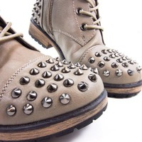 Alisia07 Metal Studded Spike Women's Combat Boot Lace-up Military New Shoe