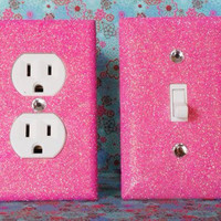 SET of Cherry Blossom Pink Glitter Switch Plate / Outlet Covers Any Styles