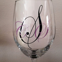 Monogrammed wine glass. Vinyl wine glass. Custom wine glass
