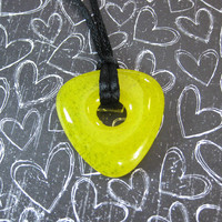 Yellow Necklace, Fused Glass Jewelry, Triangle - Sunlight - 4354 - 1
