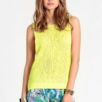 Downtown Neon Cable Knit Tank | Threadsence