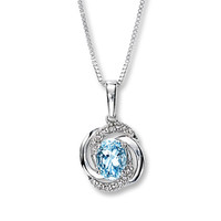 Aquamarine Necklace Diamond Accents Sterling Silver