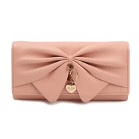 Damara Women Long Faux Leather Bifold Large Bow Design Wallet Handbag,Pale Pink