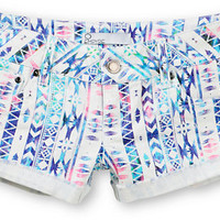 Empyre Girls Dani Multicolor Tribal Print Denim Shorts