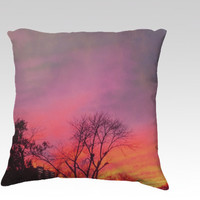Sunset photo art pillow, pink, orange drama sky cushion cover,sunrise sky decor throw pillow,tree silhouette pillow, sunset sky fire pillow