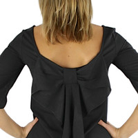 Bow Back Blouse - Black