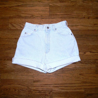 Vintage Denim Cut Offs - Vintage High Waisted 80s Light Wash Blue Jean Shorts - Cut Off/Frayed/Distressed/Rolled Up LEE Shorts Size 5/6 7/8