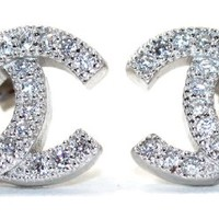 eli k Sterling Silver 925 & Cubic Zirconia Double CC Stud Earrings