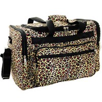 "Leopard Print Nylon Duffel / Workout Bag 22"" Black Trim"