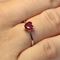 Ruby Heart Promise Ring – Cubic Zirconia Red on hand2