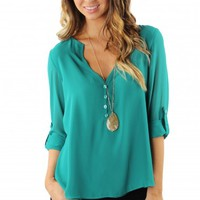 Sexy V Button Blouse Teal