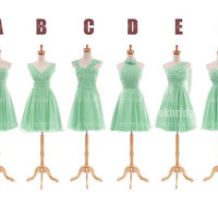 Mint green bridesmaid dresses, cheap bridesmaid dress, chiffon bridesmaid dress, short bridesmaid dresses, cheap prom dresses, RE559