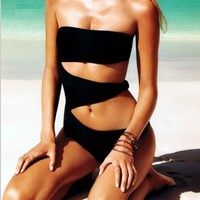 TXGL 2013 one piece black hollow out monokini women push up bikini set swimwear bathing suit S,M,L NEW D1012