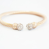 Crystal Ball Gold Twine Bangle