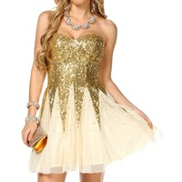 Alia- Cream/Gold Sequin Dress