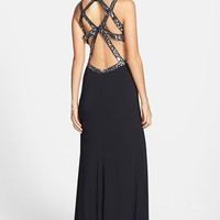 Hailey Logan Embellished Cutout Back Gown (Juniors) | Nordstrom