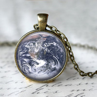 Earth Necklace, Planet Necklace, Galaxy Jewelry, Planetarium Necklace, World Necklace