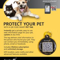Dynotag® Web/GPS Enabled QR Code Smart Round Metal Tag and Ring. Pet Tag, Property Tag - Multiple Uses.