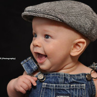 herringbone baby newsboy hat, wool newsboy cap - made to order