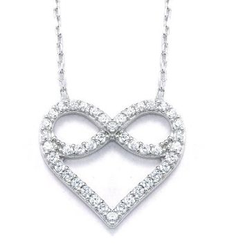 "Sterling Silver Two in One Infinity and Heart CZ Necklace ,Includes Adjustable 16"" to 18"" Rolo Chain and Gift Box."