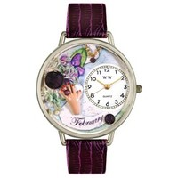 Whimsical Unisex Birthstone: February Purple Leather Watch