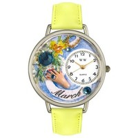 Whimsical Unisex Birthstone: March Yellow Leather Watch