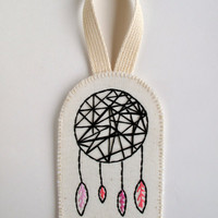 Modern dreamcatcher wall hanging or ornament hand embroidered geometric design with black and pinks on organic muslin