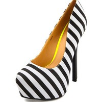 STRIPED CANVAS UBER PLATFORM PUMP