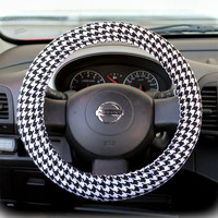 Steering-wheel-cover-wheel-car-accessories-Black-and-White-Houndstooth-Steering-Wheel-Cover