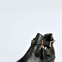 Alexandra Double Buckle Cut Out Tassle Flat Boot