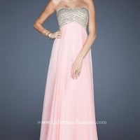 Long Embellished Strapless Chiffon Dress