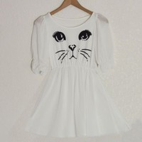 modcloth/lulus/francescas white chiffon kitty cat print dolly dress