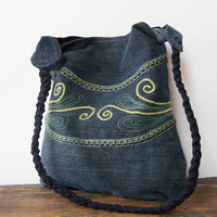 Denim tote bag jeans hippie bohemian shoulderbag handmade medium bag