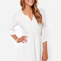 Among the Clouds Embroidered Ivory Dress