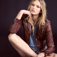 Silence + Noise Leather Moto Jacket - Urban Outfitters