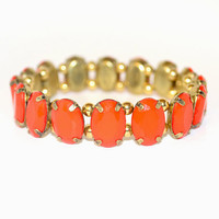 Rustic Gold and Coral Stretch Bracelet
