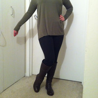 Olive V-Neck Piko Top