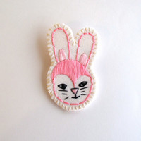 Embroidered jewelry bunny brooch pink and black with gray for Easter listing is for ONE brooch