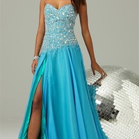 Strapless Long Prom Dress with Stone Bodice, Side Slit Chiffon Skirt