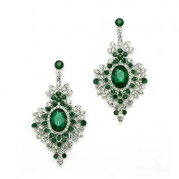 Retro Glam Emerald Crystal Earrings